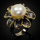 Серебряное кольцо ручной работы 925 пробы с натуральным белым жемчугом Размер 18