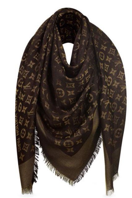 "Женский платок с люрексом Louis Vuitton Shine Monogram ""Brown""  (в стиле Луи Витон)"