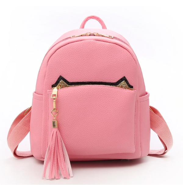 Рюкзак женский кожзам с кисточкой Fendi Розовый