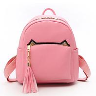 Рюкзак женский кожзам с кисточкой Fendi Розовый, фото 1