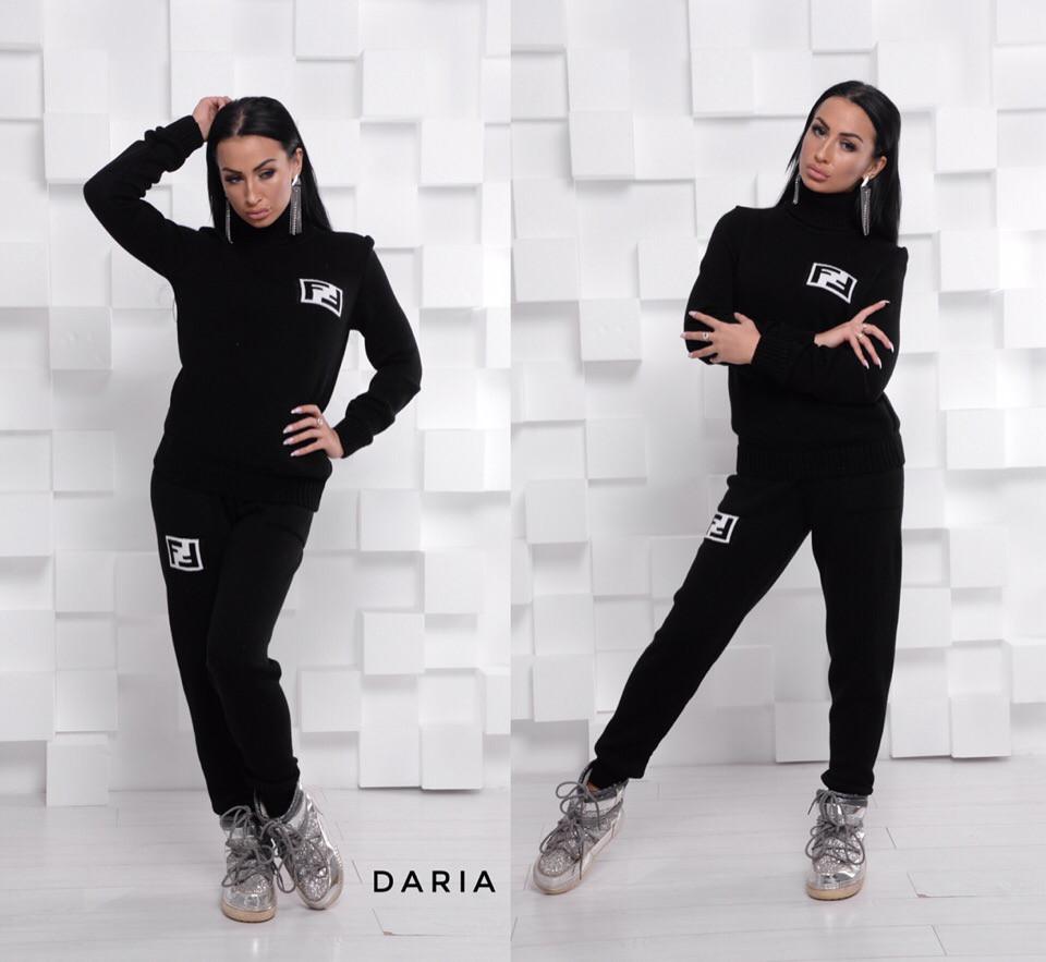 Черный вязаный костюм с белым принтом Daria