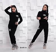 Черный вязаный костюм с белым принтом Daria, фото 1