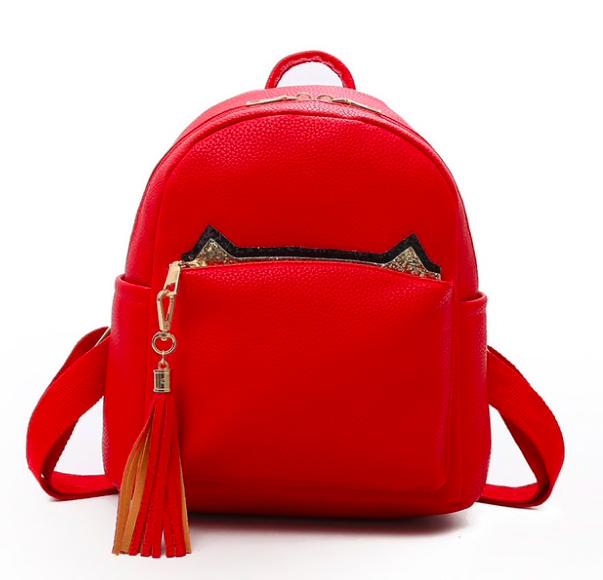 Рюкзак женский кожзам с кисточкой Fendi Красный