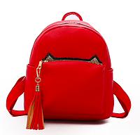 Рюкзак женский кожзам с кисточкой Fendi Красный, фото 1