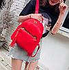 Рюкзак женский кожзам с кисточкой Fendi Красный, фото 3