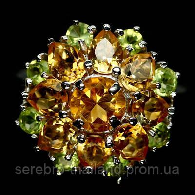 Серебряное кольцо 925 пробы с натуральным цитрином и хризолитом Размер 18