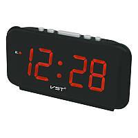 Настольные часы с будильником от сети с красной подсветкой VST-806-1