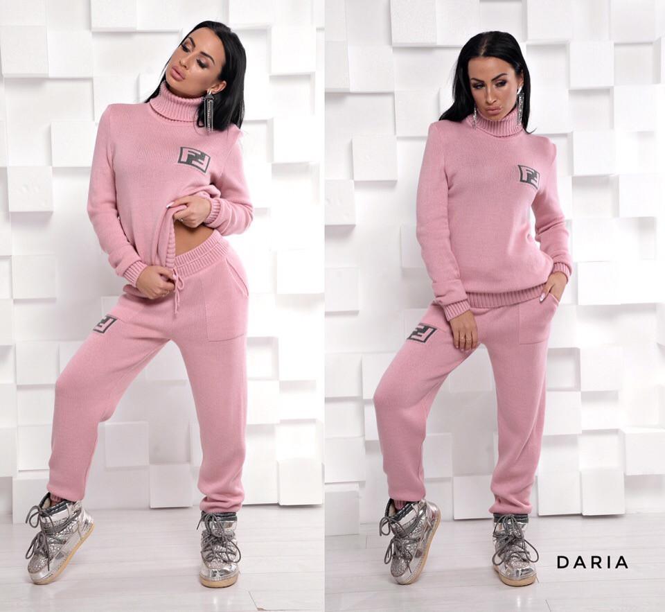 Вязаный костюм персикового цвета Daria
