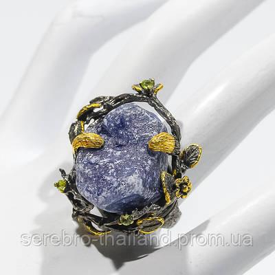 Кольцо ручной работы из серебра 925 пробы с натуральным необработанным сапфиром Размер 18