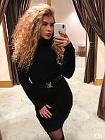 Вязаное  женское платье, черный, фото 1