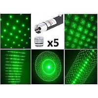 Лазерная указка зеленым точечным рисунком и 5-ю насадками Green Laser 1000mW(в комплекте