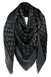 """Женский платок с люрексом Louis Vuitton Shine Monogram """"Dark grey""""  (в стиле Луи Витон)"""