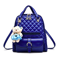 Рюкзак женский кожзам Sweet Bear стеганный сумка Синий, фото 1