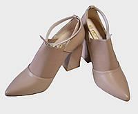 Туфли Бабочка-Mengfuna прямоугольный каблук пудра
