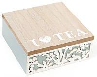 """Коробка-шкатулка """"I Love Tea"""" для чая и сахара 4-х секционная 15x18x6.5см"""