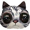 Антистрессовая игрушка Серый кот с чёрными глазами