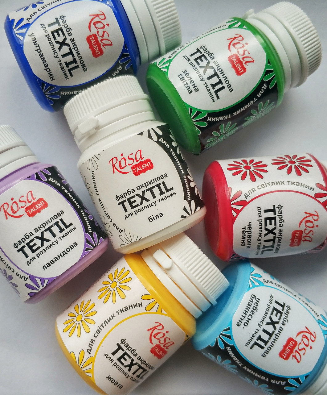 Набор красок акриловых для росписи ткани Роса Rosa Talent, 5шт. *20мл