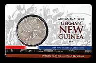 """Монета Австралии 50 центов 2014 г. В упаковке. Битва за Новую Гвинею. Серия """" Австралия в войне""""."""