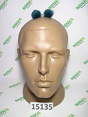 Меховой помпон Норка, Тем.бирюза, 2 см, пара 15135, фото 2