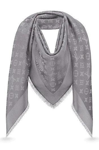 "Женский платок с люрексом Louis Vuitton Shine Monogram ""Gray""  (в стиле Луи Витон)"