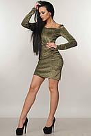 Коктейльное платье Злата с люрексом 42-52 размеры золото, фото 1