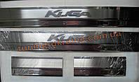 Хром накладки на внутренние пороги надпись гравировкой для Ford Kuga 2008-2012