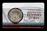 """Монета Австралии 50 центов 2014 г. В упаковке. Самолеты. Серия """" Австралия в войне""""."""