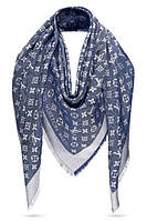"""Женский платок с люрексом Louis Vuitton Shine Monogram """"Denim""""  (в стиле Луи Витон)"""