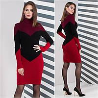 Теплое платье для офиса Эльза, марсала+черный+вишня, фото 1