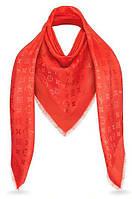 "Женский платок с люрексом Louis Vuitton  Monogram ""Red""  (в стиле Луи Витон)"