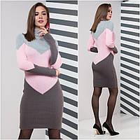 Теплое платье для офиса Эльза, серый+розовый+графит, фото 1