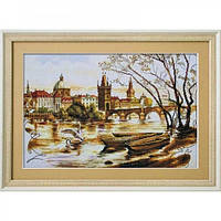 Набор для вышивки нитками на канве с нанесенным фоновым изображением Прага. Карлов мост Новая слобода СР2225-У