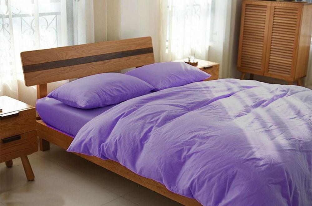 Постельное белье из льна Сиреневый №527 ТМ Комфорт-текстиль (Двуспальный)