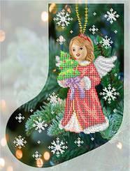 """Схема для вышивки бисером новогодний сапожок """"Рождественский ангелочек"""""""