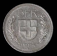 Монета Швейцарии 5 франков 1994 г.