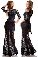 Платье женское длинное гипюровое 4407