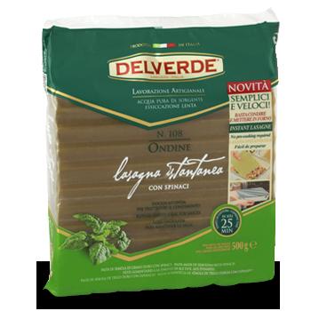 Лазанья листы рефлёные со шпинатом Delverde «Lasagna Istantanea», 500 гр.