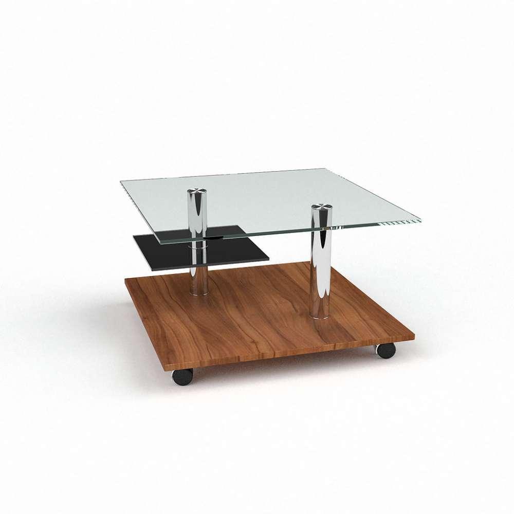 Журнальний кофейний столик зі скла/ЛДСП у вітальню Юпітер БЦ-стол