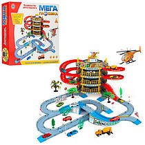 Гараж 922-10 4 поверхи, 2 машинки, гелікоптер, дорожні знаки, в коробці, 47,5-40,5-9 см