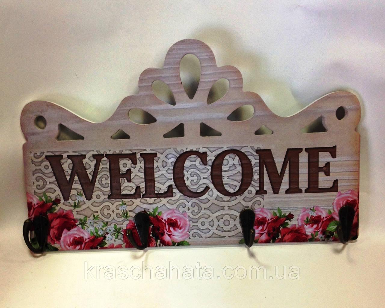 Интерьерная табличка, Welcome, Прованс, 4 крючка, Декор для дома, Днепропетровск