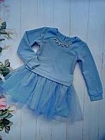 Платье нарядное детское, крепдайвинг с люрексом, размер 98-122, голубой