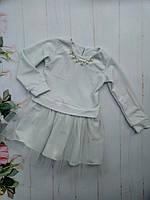 Платье нарядное детское, крепдайвинг с люрексом, размер 98-122, белый