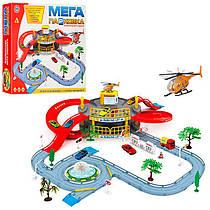 Гараж 922-9 2 поверхи, машинка, гелікоптер, дорожні знаки, дерево, в коробці, 41-36-7 см.
