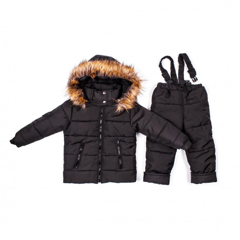 Детский зимний комбинезон Пусик Пушок 98-104 см (2-3, 3-4 года) (Черный)