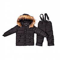 Детский зимний комбинезон Пусик Пушок 2-3, 3-4 года (Черный)