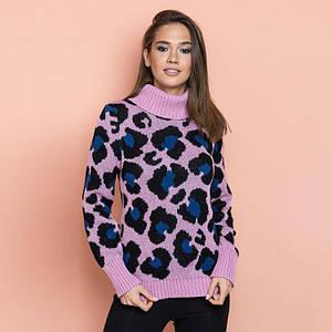 Женский теплый свитер Лёвик розовый - джинс - черный