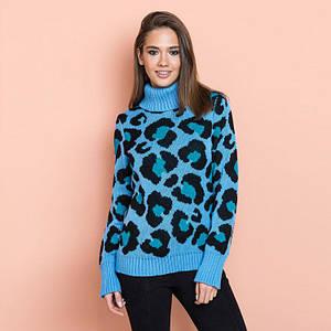 Женский теплый свитер Лёвик голубой - изумруд - черный