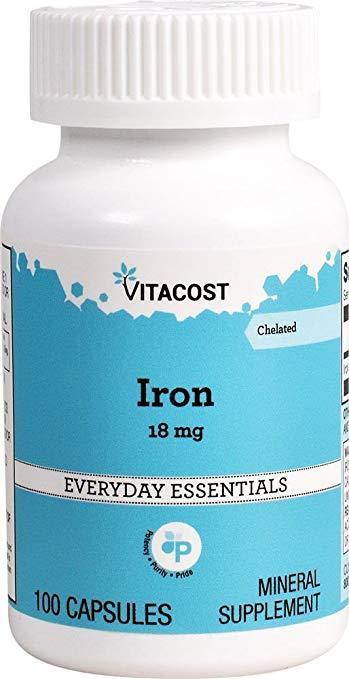 Vitacost Iron Железо хелатное, 18 mg, 100 капсул