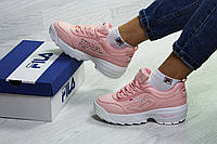 86a22c01964a Зимние белые розовые кроссовки Fila - Фила на меху   кросівки жіночі філа (Топ  реплика