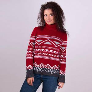 Женский теплый свитер Слойка вишня
